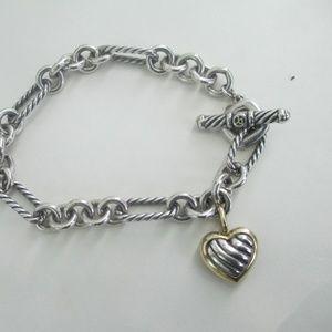 David Yurman Silver & 750 Heart cable Bracelet